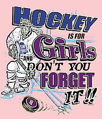Pure Sport Hockey T-Shirt: Hockey Is For Girls-Pink