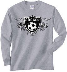 Long Sleeve Soccer T-Shirt: Soccer Shield
