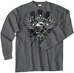 Pure Sport Long Sleeve Lacrosse T-Shirt: Lacrosse Wings
