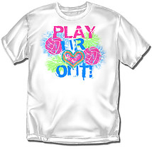 Youth Volleyball T-Shirt: Play Heart Out Volleyball