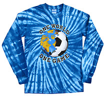Long Sleeve Soccer T-Shirt: One World Soccer Tie Dye (BlueBurst)