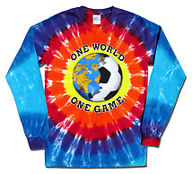 Long Sleeve Soccer T-Shirt: One World Soccer Tie Dye (SunBurst)