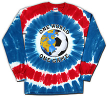 Long Sleeve Soccer T-Shirt: USA World Cup One World Tie Dye